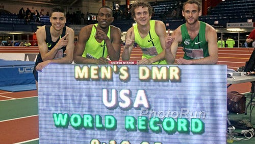 The distance medley relay team of Matt Centrowitz (left), Mike Berry, Eric Sowinski, Pat Casey set a world record Saturday in New York.