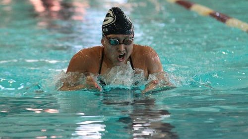Granville sophomore Sarah Martin, shown winning the Licking County League 100 butterfly at New Albany, has reached the Division I state meet in two events.