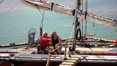 Pete and Emma Perez aboard the Sakman Chelu during the 2016 Festival of Pacific Arts.