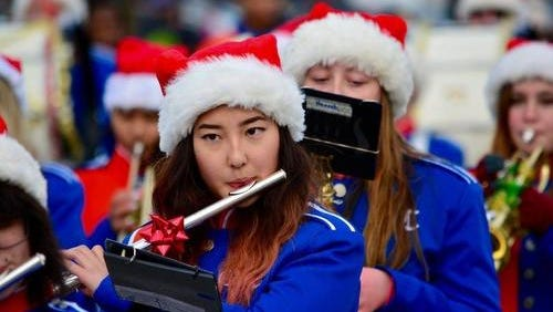 The Garden City Cougars Marching Band is always a highlight of the annual Santaland Parade.