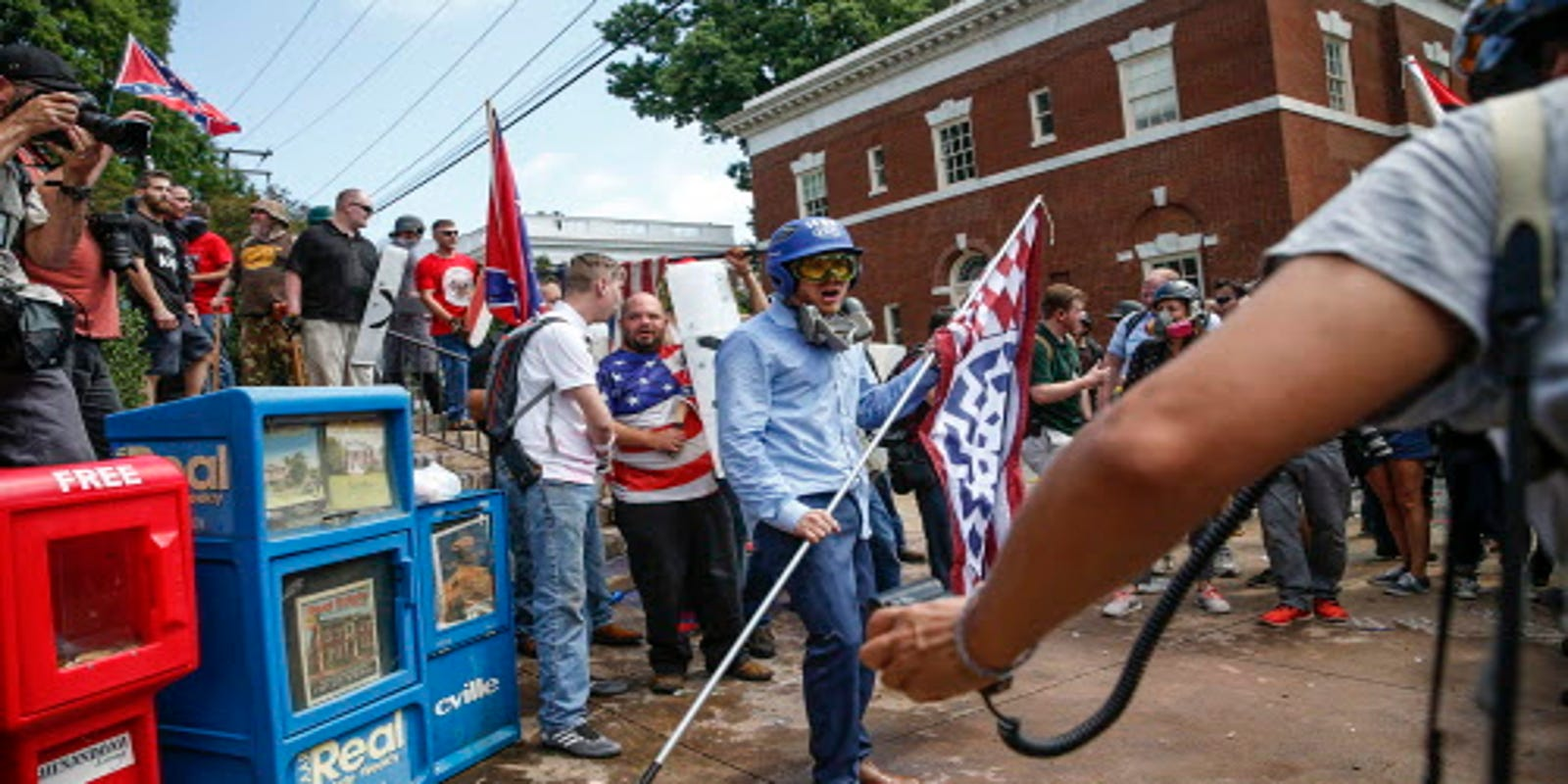 Charlottesville: Swastikas on the rise, but among those who