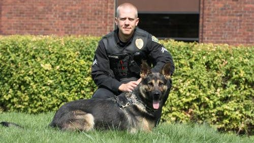 Officer Clint Houston with Shep.
