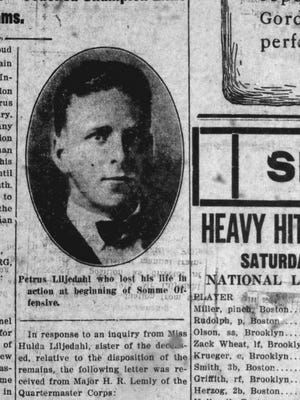 Petrus (Peter) N. Liljedahl is shown in the April 21, 1919, edition of the St. Cloud Journal-Press. He was the only student from St. Cloud Normal School to die in combat in World War I.