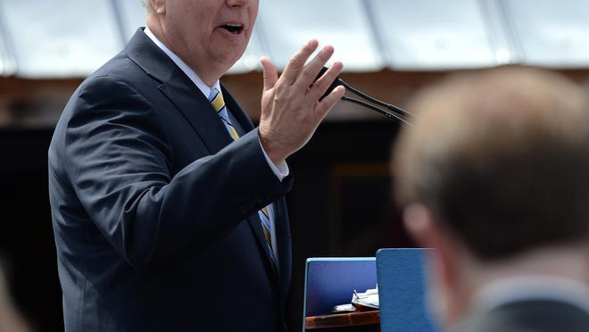 Lindsey Graham announces his presidential campaign in his hometown of Central on June 1, 2015. The Air Force Reserve promoted Sen. Lindsey Graham of South Carolina twice for performing only light military duty, and for years Graham falsely claimed he had completed a Reserve teaching assignment, according to a story in today's Washington Post.