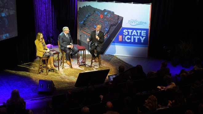 Fort Collins Communications and Public Involvement Director Amanda King, Mayor Wade Troxell and City Manager Darin Atteberry deliver the annual State of the City address on Monday, January 30, 2017.