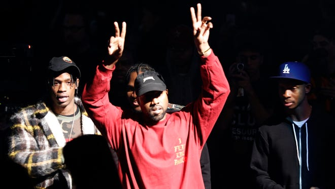 Kanye West at unveiling of the Yeezy collection and his latest album, 'The Life of Pablo,' at Madison Square Garden in New York.