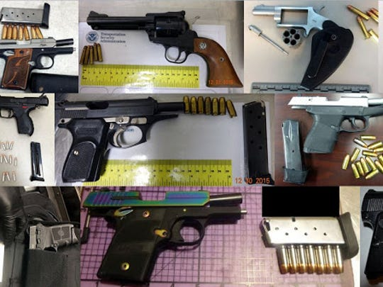 Some of the 46 firearms found at airport checkpoints