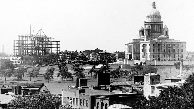A photo taken Aug. 27, 1927, shows a view of the Rhode Island State House from the 6th District Courthouse, with the Masonic Temple under construction on the left.