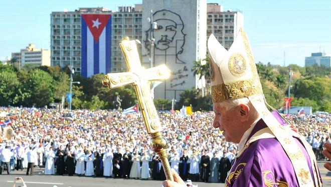 Then-Pope Benedict XVI holds Mass March 28, 2012, in Havana, Cuba.