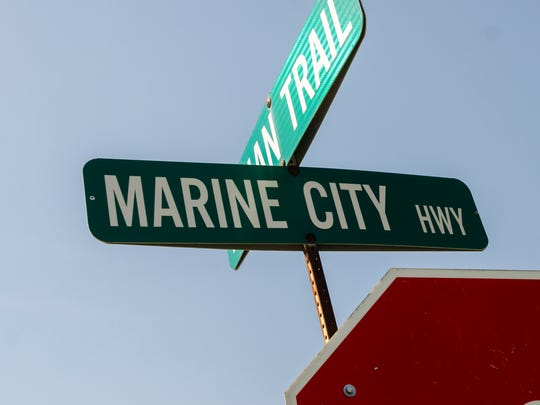A sign for Marine City Highway Monday, Sept. 5, in Cottrellville.