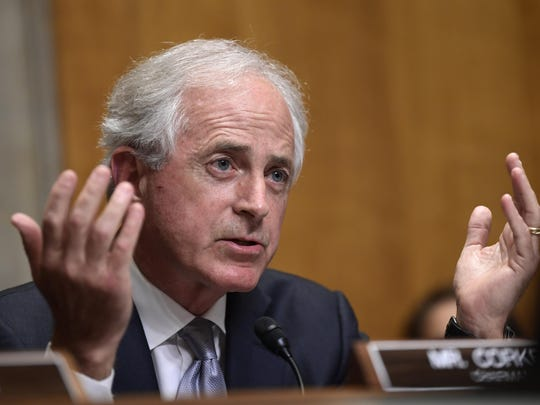 In this July 25, 2018, file photo, Sen. Bob Corker, R-Tenn., questions Secretary of State Mike Pompeo during a hearing on diplomacy and national security. The ranks of the forgotten Republicans are growing. They are members of Congress, governors and state party leaders who have been left behind by President Donald Trump's Republican Party.