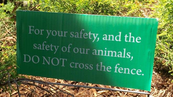 Plenty of signs exist reminding visitors to use common sense at Seneca Park Zoo.