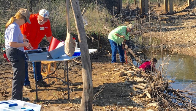 Members of the North Central Arkansas Master Naturalists work to monitor the water quality of a local stream.