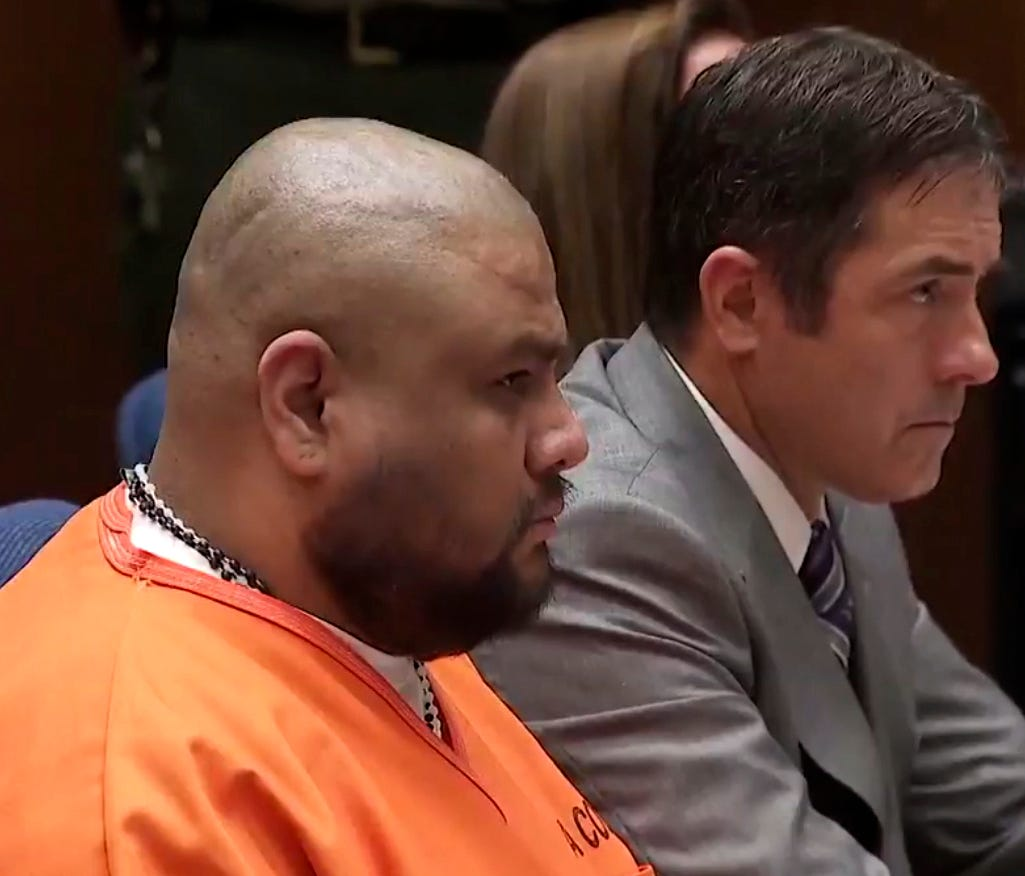 In this video frame grab Isauro Aguirre, left sits and listens to his sentence on Thursday, June 7, in Palmdale, Calif.