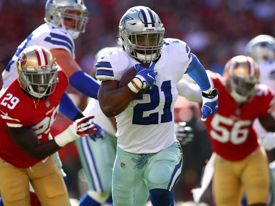 Ezekiel Elliott returned to the Cowboys lineup and took advantage, running for 147 yards and two touchdowns in a victory over the 49ers.