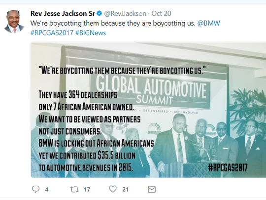 In this Oct. 20 tweet, the Rev. Jesse Jackson called on Americans to cease buying BMWs because of the company's lack of diversity among dealership owners.