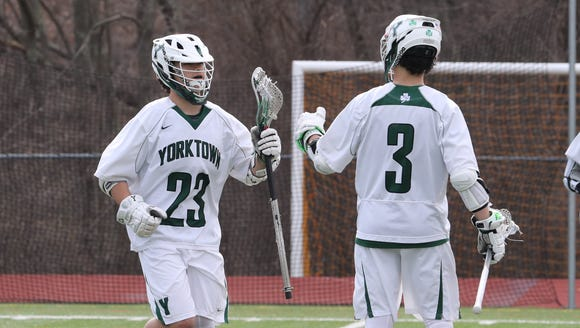 Yorktown lacrosse players and twin brothers Hunter,