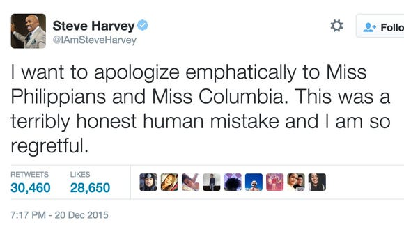 """""""I want to apologize emphatically to Miss Philippians and Miss Columbia. This was a terribly honest human mistake and I am so regretful."""""""