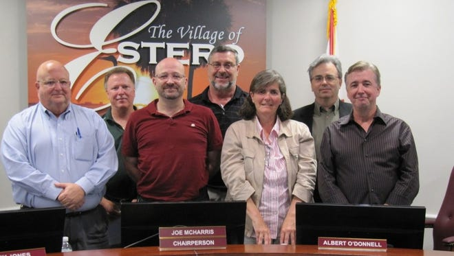 The Estero Design Review Board as of Friday on the village website. From left to right: William Glass, Barry Jones, Joe McHarris, Al O'Donnell, Patty Whitehead, Scott Anderson and Bill Prysi. Absent is Anu Lacis.