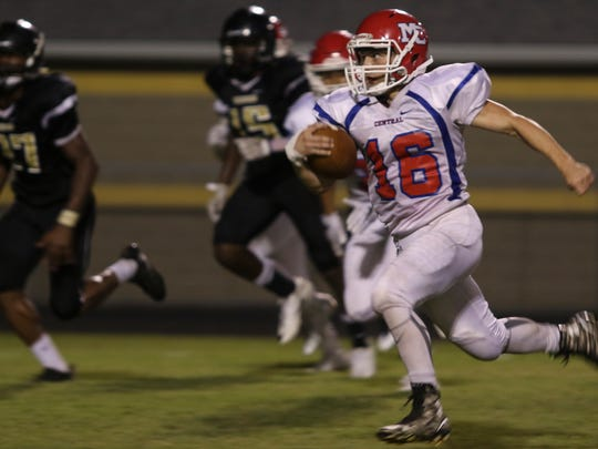Montgomery Central senior Chris Wall (16) runs the