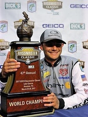 Jordan Lee celebrates his 2017 Bassmaster Classic victory.