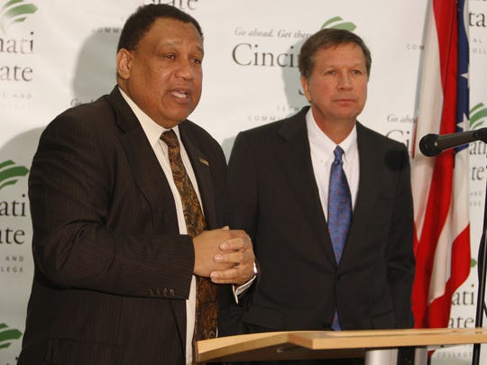 Cincinnati State President Dr. O'dell Owens, left, has lobbied Gov. John Kasich and other elected officials to maintain direct access to the Clifton campus. The state and city plan to split the cost of a new $42 million bridge.