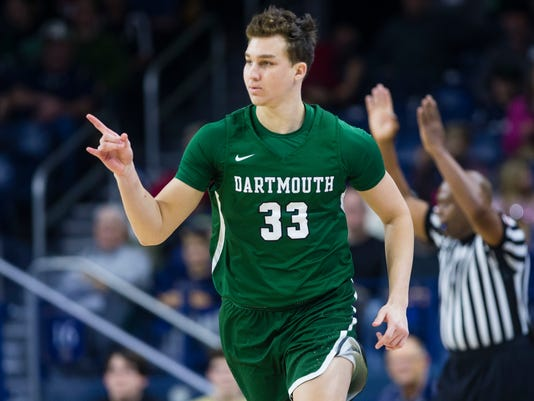 Dartmouth's Adrease Jackson (33) celebrates making a shot during an NCAA college basketball game against Notre Dame at Purcell Pavilion in South Bend, Ind., Tuesday, Dec. 19, 2017. (Michael Caterina/South Bend Tribune via AP)
