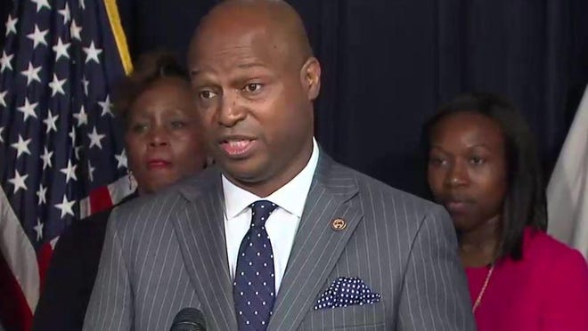 """Rep. Emanuel """"Chris"""" Welch speaks during a news conference in Chicago in this file photo."""
