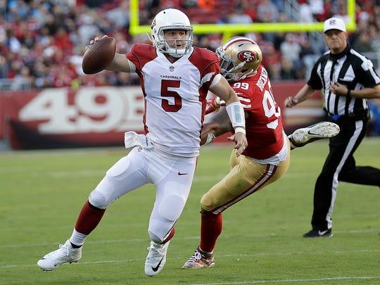 Arizona Cardinals quarterback Drew Stanton (5) scrambles