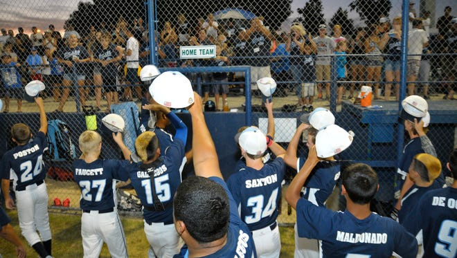 The Tulare Navy All-Stars thank their fans after securing a spot in the Major/60 World Series.