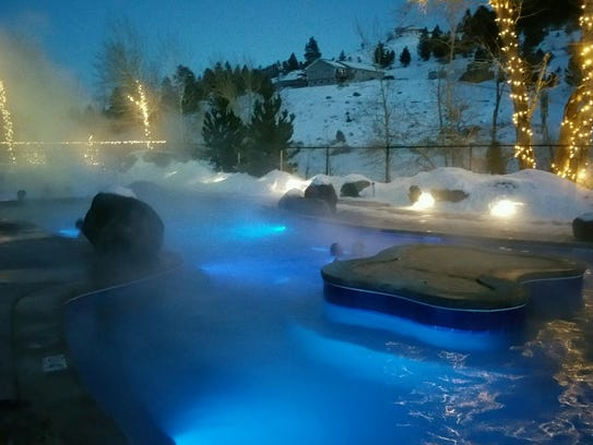 Broadwater Hot Springs is aglow on a winter's night.
