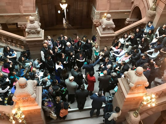 Yonkers officials held a rally at the state Capitol on Monday, Feb. 12, 2018.