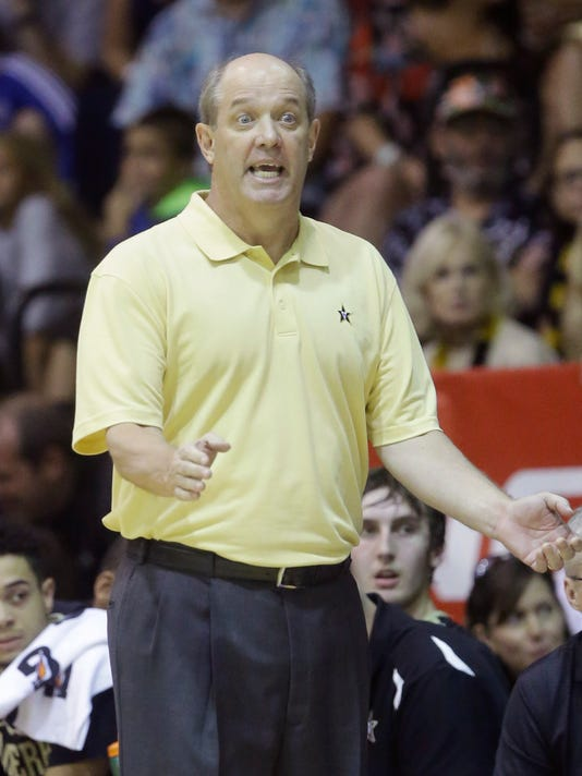Vanderbilt coach Kevin Stallings shouts to his team during the first half of an NCAA college basketball game against Wake Forest in the second round of the Maui Invitational on Tuesday, Nov. 24, 2015, in Lahaina, Hawaii.  (AP Photo/Rick Bowmer)