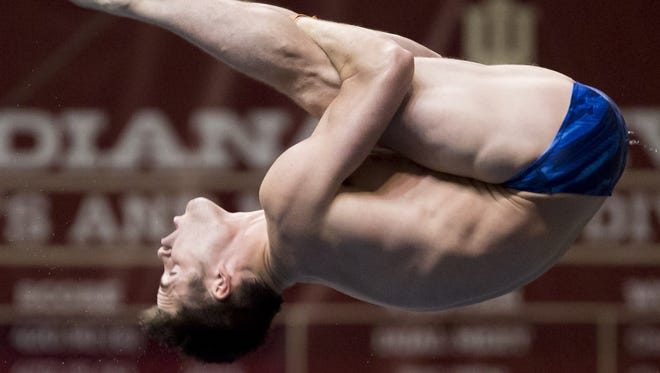 Former Purdue diver David Boudia, of Noblesville, Ind., competes in the men's 10-meter platform finals during USA Diving's World Championship Trials on Sunday, May 17, 2015, at Indiana UniversityÕs Counsilman-Billingsley Aquatic Center in Bloomington, Ind. Boudia finished first. (James Brosher / For The Star)