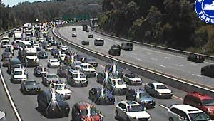 The going is slow on northbound Interstate 87 between Exits 8 and 9 in Tarrytown on July 23, 2016, as seen in a Thruway Authority traffic camera image.