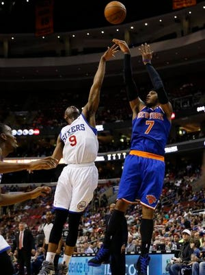 New York Knicks' Carmelo Anthony in action during an NBA basketball game against the Philadelphia 76ers, Friday, March 21, 2014, in Philadelphia.