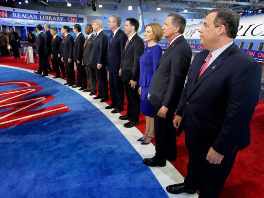 Republican presidential candidates, from left, former