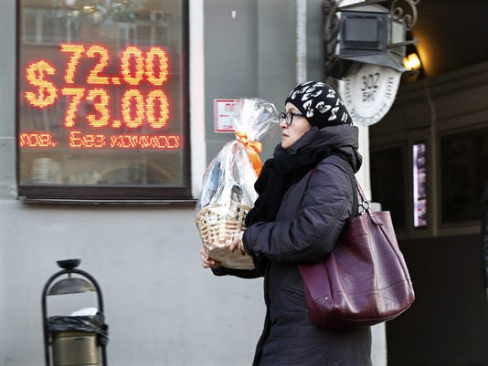 Battered Russian ruble plunges amid oil price drops