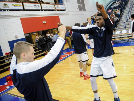 Southern Indiana Eagles forward DayJar Dickson (23) prepares for the game against the William Jewell Cardinals at the University of Southern Indiana, Thursday, Jan. 5, 2017. The Southern Indiana Eagles beat the William Jewell Cardinals 88-71.