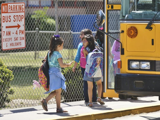In this file photo, students at Goshen Elementary head home on Visalia Unified School District bus.