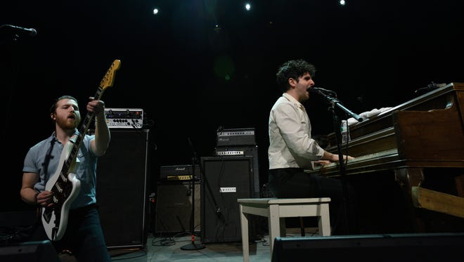 Delaware's Will Donnelly (left) and Adam Weiner of Low Cut Connie opening for The Hold Steady in New York in November.