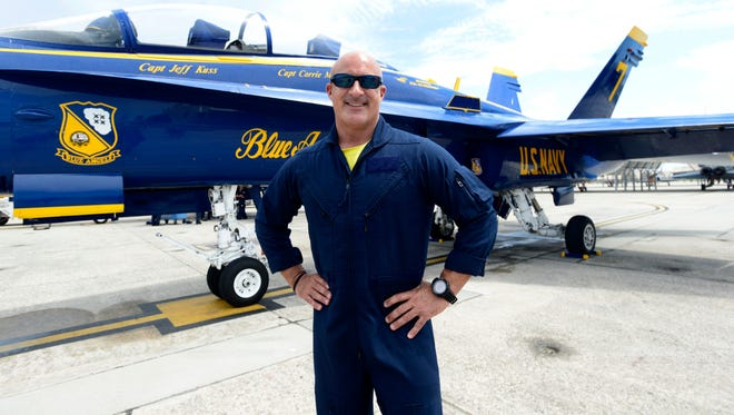 Jim Cantore, meteorologist with the Weather Channel, gets prepared for a VIP flight in a Blue Angels F-18 Hornet on Thursday at Sherman Field aboard Pensacola NAS.