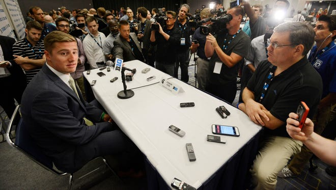 Michigan State quarterback Connor Cook speaks to the media during the Big Ten Football media day Thursday, July 30, 2015 in Chicago.