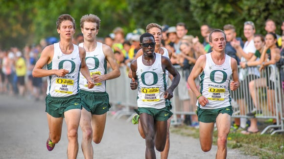 Oregon runner Edward Cheserek competes during a race