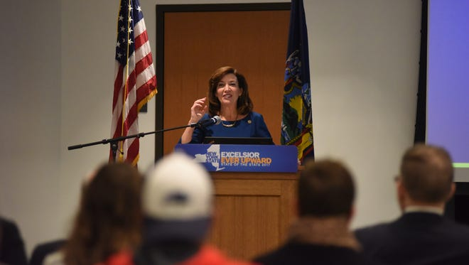 Lt. Gov. Kathy Hochul discusses Gov. Andrew Cuomo's State of the State at Marist College in the Town of Poughkeepsie Tuesday morning.