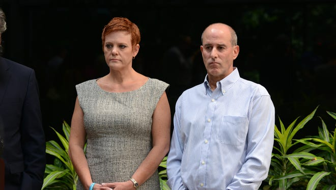 Dianne and Seth Grossman at a press conference at which they announced a lawsuit against the Rockaway Township school district, which they say should have taken steps to stop the cyberbullying they blame for their daughter's death by suicide.