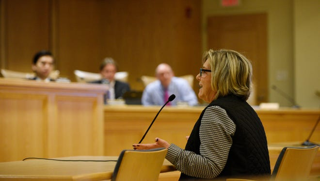 Lori Swedelson of Mahwah tells the Township Council on Oct. 26 that she is Jewish and has never experienced anti-Semitism in Mahwah.