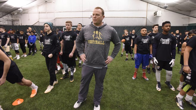"""Dan Sabella, Paramus Catholic football coach, at the """"Gamechangers"""" Middle School football Camp at the Sports Domain Academy in Clifton on Saturday, March 17, 2018."""