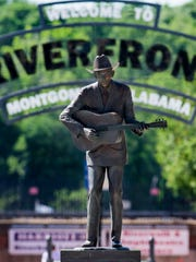 The Hank Williams statue stands in front of the entrance