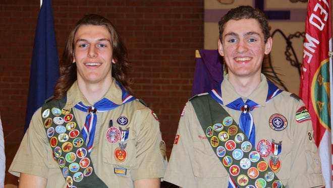 Horseheads teens Josh Tolpa, left, and Jared Anderson recently earned their Eagle Scout badges.